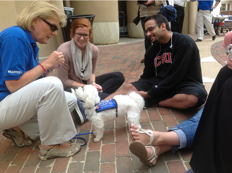 Dogs on Call volunteers Stewie (center, white coat) and Joan Nuttle (left, blue shirt) show off for students.